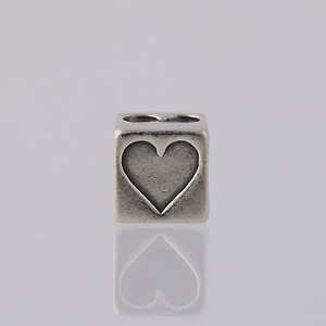 Heart Block Bead Charm Sterling Silver 925 Love Jewelry Making Bracelet Neckalce