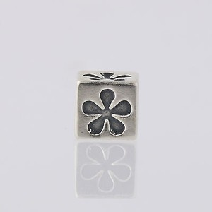 Flower Block Bead Charm - Sterling Silver 925 Jewelry Making Crafting Floral