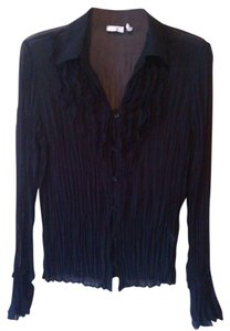 Apt. 9 Sheer Buttondown Goth Ruffles Top Black