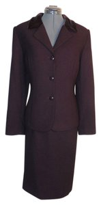 Travis Ayers Travis Ayers Dark Brown Skirt Suit Velvet trim