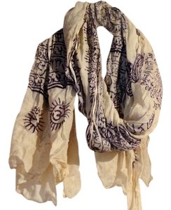 Ivory and Blue Print Scarf