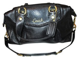 Coach New Leather Satchel in Black