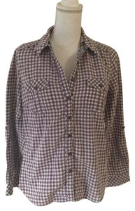 Marks & Spencer Button Down Collared Plaid Button Down Shirt Purple and white