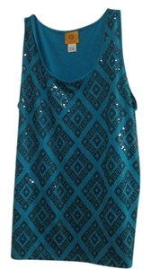 Ruby Rd. Sequin T Shirt TURQUOISE