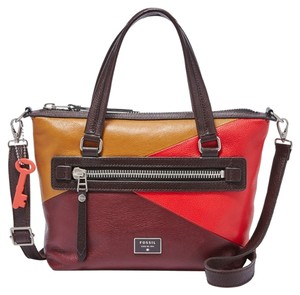 Fossil Crossbody Leather Multicolor Colorblock One Shoulder Satchel in Red Multi
