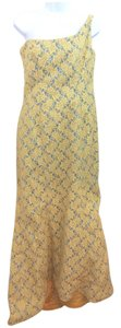 Leonel Lirio Spectacular Guipure Lace Yellow Evening Dress