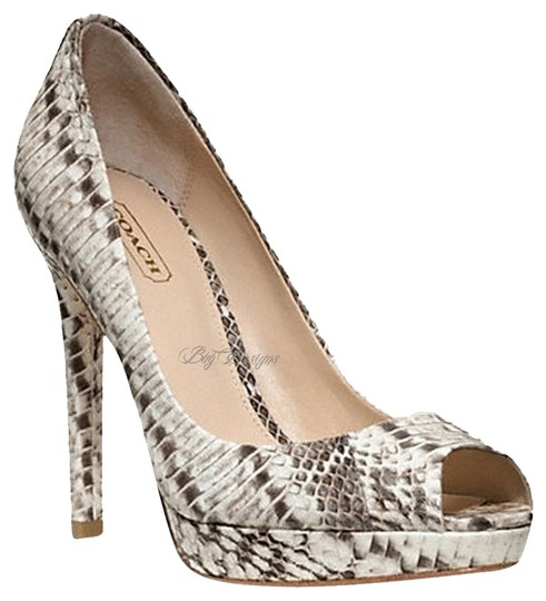 Coach Sale Discount Snakeskin Black and White Pumps