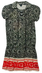 Anna Sui short dress Black, Cream, Coral Short Sleeve Dropped Waist on Tradesy