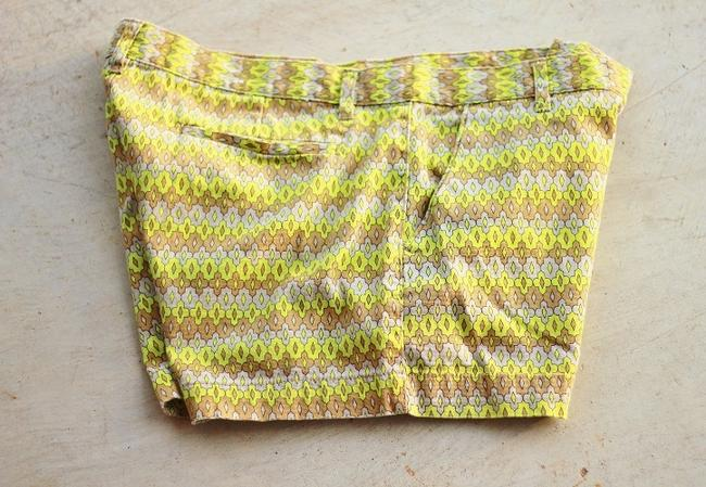 Joe Fresh Neon Pattern Boho Retro 70's Mini/Short Shorts Chartreuse Image 1