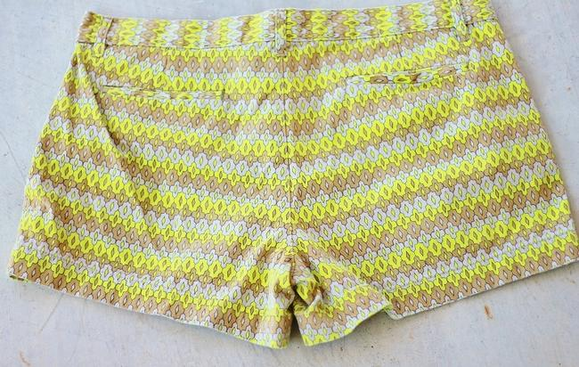 Joe Fresh Neon Pattern Boho Retro 70's Mini/Short Shorts Chartreuse Image 2