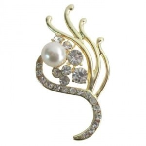 Gold Ivory Attractive Vintage Golden Bridesmaid Decorated Pearls Brooch/Pin