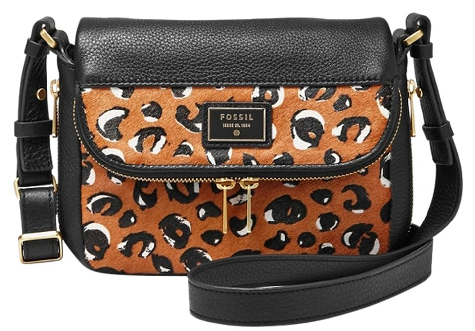 193030f31b Fossil Leather One Shoulder Calf Hair Black Small Cross Body Bag Image 0 ...