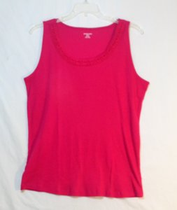 St. John Sleeveless Embroidered Knit Top Bright Pink