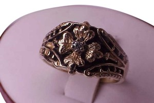 Estate Unique Vintage Deco Enameled 10k Yellow Gold Diamond Ring, 1950's