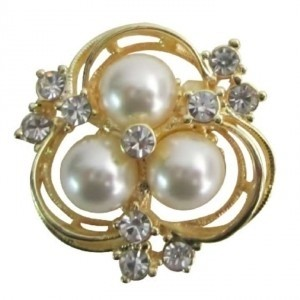 Gold Ivory Flower Crystals Pearls Sparkling Hair Brooch/Pin