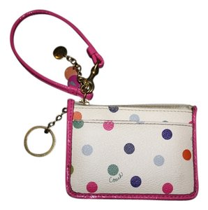 Coach COACH Polka Dot Pink Leather Wallet