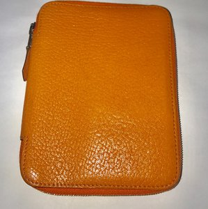 Hermès Authentic Hermes Orange Clemence Globe Trotter Zip Around Agenda PM