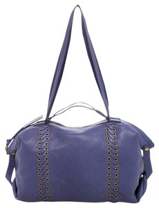Joelle Hawkens Leather Hobo Boho Satchel in dark blue