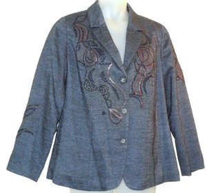 Coldwater Creek Embroidered Blue Blazer