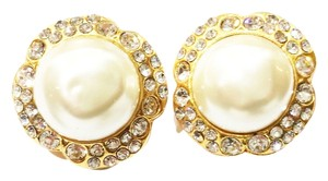 Chanel Chanel Gold Plated Flower Rhinestone Faux Pearl Clip on Earrings