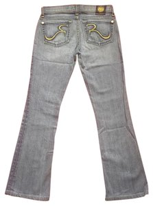 Rock & Republic & Embroidered Green Designer Denim Boot Cut Jeans-Light Wash