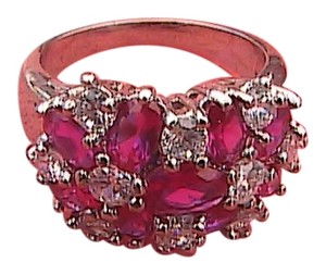 14k White Gold Filled Ruby & White Topaz Ring (#68)