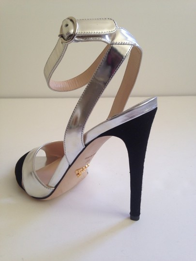 Prada Metallic Silver/Black Pumps