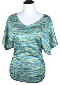 Studio Y Stretch Woven Wav Patterned Bright Multicolor V-neck Ruched Sides Gathered Maurices Top blue