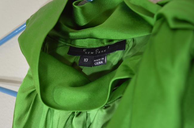 ECI New York Holiday Party Gradient Tie Tie-neck Bow Sleeveless Silk Top green