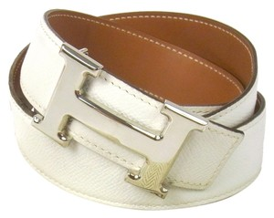 Hermès Authentic 32MM/95CM Constance Reversible Hermes Belt Kit Silver Buckle White and Brown Leather Strap