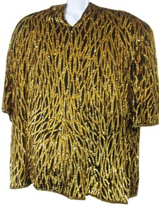 Laurence Kazar Gold Sequins Vintage Silk Top Black