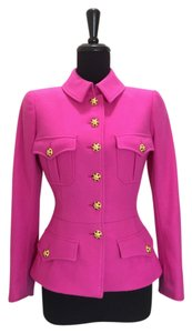 Chanel Gripoix Buttons Peplum Fitted Military Jacket