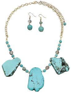 Handmade Stone Necklace with Earrings