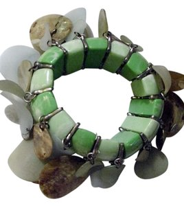 Huge tassle dangle abalone seashell disc bangle cuff bracelet chunky runway statement jewlery piece