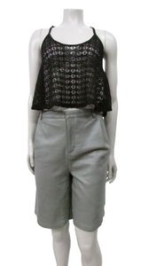 Topshop Leather Longline Bermuda Shorts Gray