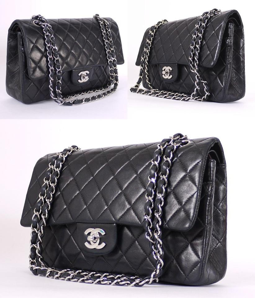cba2eaf7b886 Chanel 2.55 Reissue Double Flap Classic 25cm Silver Black Lambskin Shoulder  Bag - Tradesy