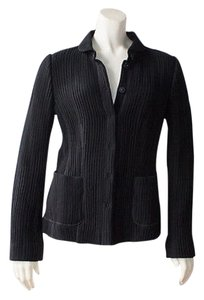 Armani Collezioni Stretchy Snap Buttons Rib Knit Polo Collar Black Jacket