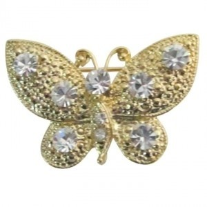 Gold Breathtaking Sleek Elegant Clear Crystals Golden Butterfly Brooch/Pin