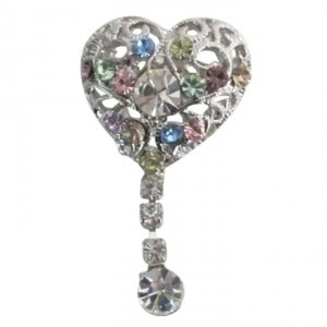 Silver Heart Shaped Multicolor Crystals Dangling Celebrity Brooch/Pin