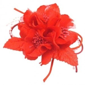 Red Magical Ethereal Fabric Flower Hair Decorated W/ Pollen Brooch/Pin