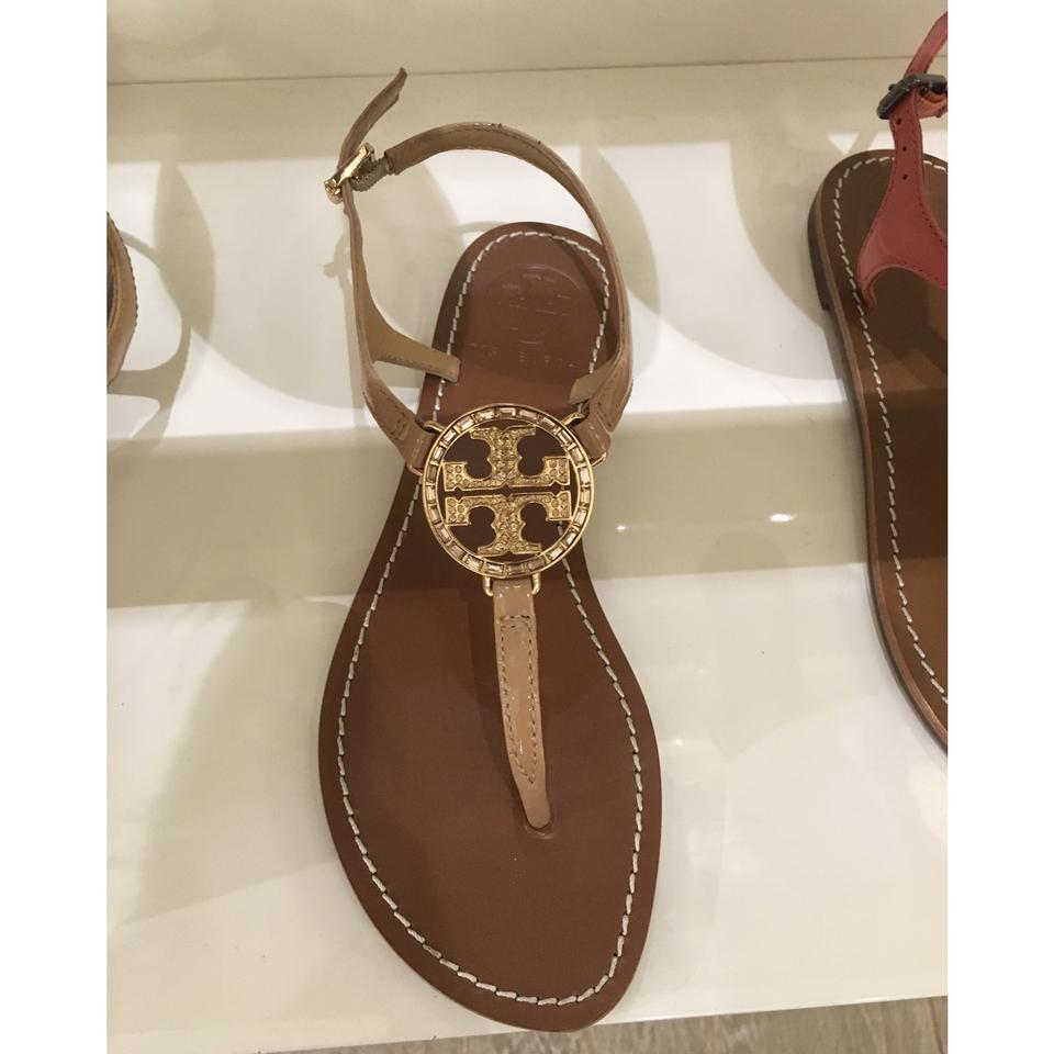 80d84c59fbcfd Tory Burch Camilla Pink Beige Nude Tan Violet Thong Metallic Gold Logo  Leather Sandals Size US 9 Regular (M