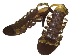 Michael Kors Stillettos Leather Studded BROWN Sandals