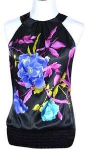 Studio Y Floral black with flowers Halter Top