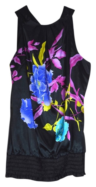 Studio Y Floral Stylized Tie Neck Banded Bottom Gathered Small Going Out Colorful black with flowers Halter Top