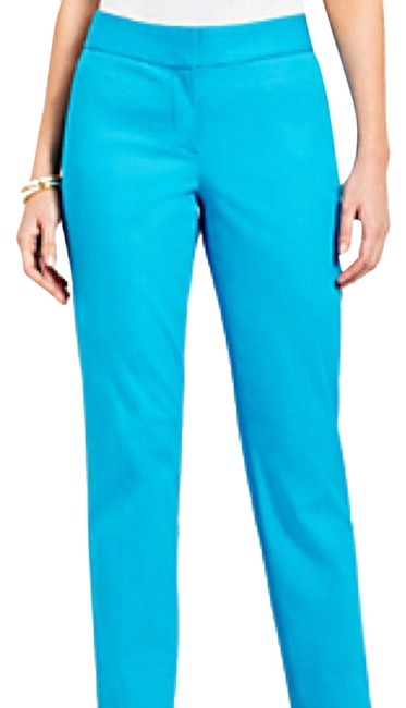 """Item - Turquoise - Solid Cotton Stretch """"Curvy"""" Pants Size 10 (M, 31)"""
