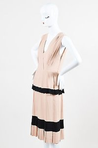 Moschino Nude Black Pleated Dress