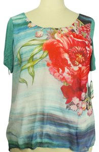 Style & Co Plus-size Hi-low Hem Mixed Media Top Multi-Color