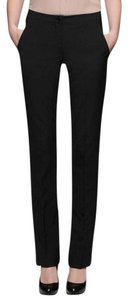 Theory Stretch Wool Straight Leg Straight Pants Black