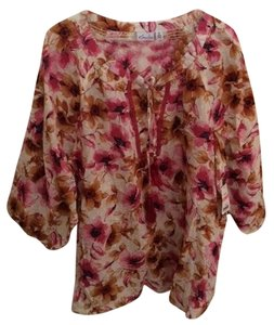 Kim Rogers Tunic Top Rose and Tan flower print