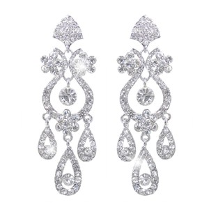 Bridal Chandelier Earrings Rhodium Plated Austrian Crystals